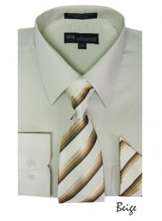 Mens Milano Moda Dress Shirt + Matching Tie + Handkerchief Set 20
