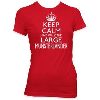 AND WALK THE LARGE MUNSTERLANDER LADIES PET DOG T SHIRT WOMENS #275