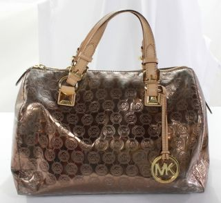 MICHAEL Michael Kors Women Metallic Leather Purse Cocoa Mirror Grayson