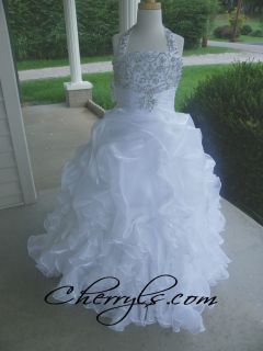 PERFECT ANGELS 1427 White sz 8 GIRLS NATIONAL PAGEANT DRESS FORMAL