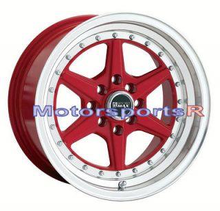 15 15x8 XXR 501 RED Rims Wheels Deep Dish Step Lip 4x114.3 Stance ET