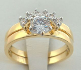 Newly listed LADIES two band ring curved stones WEDDING SET 18K gold
