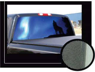 HOWLING WOLF 22 x 65 Rear Window Graphic decal tint wolves view thru