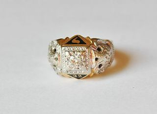 Vintage 14K Gold Masonic Ring 0.40CT 50CT Diamond Ring/double eagle