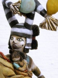 16 Hopi Clown Kachina Doll Sculpture with Little Sister by Prinston