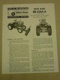 1963 WHEEL HORSE TRACTOR BD 4264 A DOZER BLADE PARTS LIST MANUAL