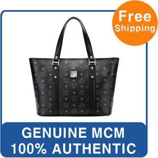 new genuine mcm shopper bag black visetos