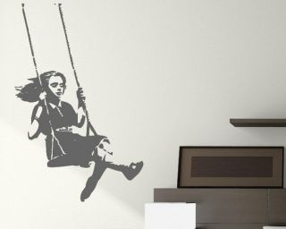 Banksy Graffiti  Swinging Girl  Large Vinyl Wall Stickers Classic