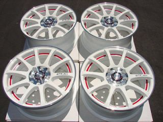 17 4x114.3 4x100 White Neon Effect Wheels Civic Integra Miata Accord 4