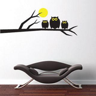 Kids Childrens Nursery Owls, Moon & Tree Vinyl Wall Stickers / Wall
