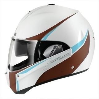 Shark Evoline Series 3 Century Matte White Chocolate Blue Helmet Size
