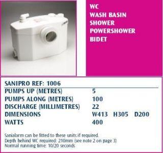 saniflo sanipro toilet waste water pump macerator 1006 time left