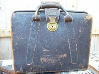 Vintage 1900s Pedros Leather Hard Briefcase Travel Brier Bag Case