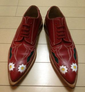 comme des garcons red leather flower shoes