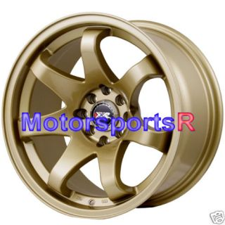 15 15x8 XXR 522 Gold Concave Wheels Rims 4x100 Stance 98 Honda Civic