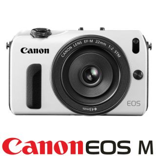 New Canon EOS M Camera Body White EF M 22mm STM F 2 Lens Mount Adapter