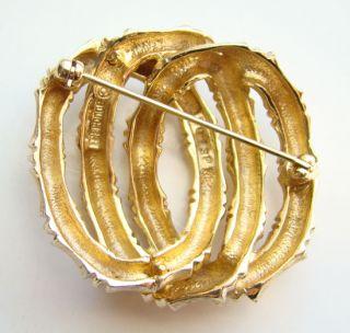 Vintage Marcel Boucher Pin Brooch Gold Plate Triple Interlocking Rings
