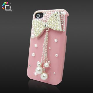 Cute 3D Bling Crystal Bow Pearl Rhinestone Hard Case Cover for iPhone