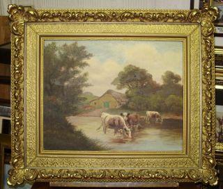 Van.Velde. 1880s IMPRESSIONISM OLD OIL PAINTING o/c  COWS