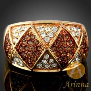 ARINNA Topaz Gold GP 18K Swarovski Crystals Finger Ring
