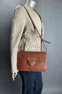 1690 New with Tags Prada Brandy Brown City Calf Leather Purse Bag