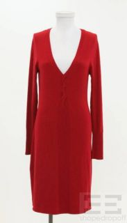 BCBG Max Azria Red Knit Cable Trim Long Sleeve Sweater Dress Sz M