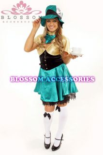 1768 New Ladies Mad Hatter Alice in Wonderland Costume