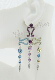 Paula Abdul Blue Pink Purple Yellow Crystal Chandelier Drop Silver