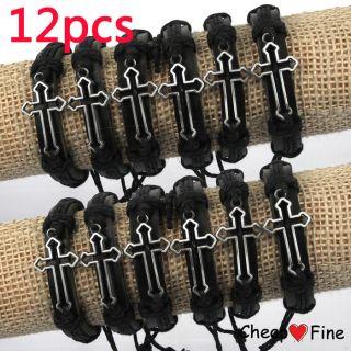 Wholesale Lot 12 Pcs Cross Genuine Leather Bracelet Hot