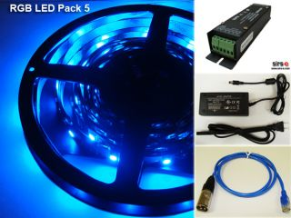 PK5 5050 LED RGB Strip DMX Controller Kit 5M 16 4ft USA Seller