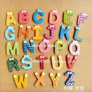 Alphabet Number Wooden Fridge Magnet Kids Educational Toy Baby Gift