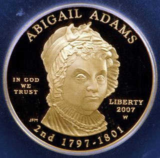 2007 W $10 Abigail Adams First Spouse 1/2 Ounce .9999 Gold Proof Coin