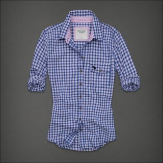 Abercrombie Fitch Women Navy Blue Check Button Down Shirt Top Eve XS