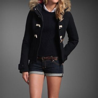 Abercrombie Womens NWT Jill Navy Blue Wool Blend Toggle Jacket Coat $