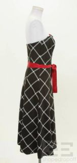 ABS Allen Schwartz Evening Black & White Plaid & Red Flower Dress Size