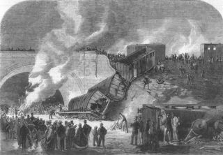 Caption below picture: Fatal railway accident at Kentish Town, on