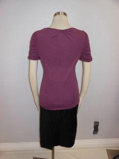 Anthropologie Light Purple Short Sleeves Accordian Pleat Ruffle Top M