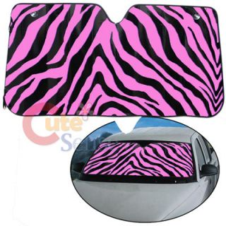Black & Pink Zebra Front Window Sun Shade /Windshield Protect Cover