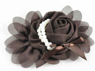 10pcs Big Chiffon Rose Flower Pearls Headband Wedding Appliques U