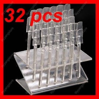 Clear 32 Tips Plastic Acrylic Nail Art Polish Display Stand Practice