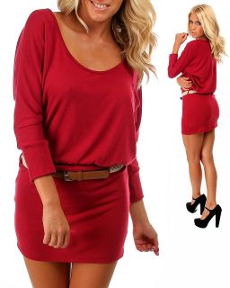 Sexy Burgundy Red Scoop Neck Stretch Fit Belted Sweater Dress