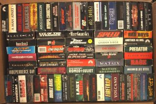 VHS Huge Lot of 72 Action Movie Video Tapes James Bond Lethal Weapon