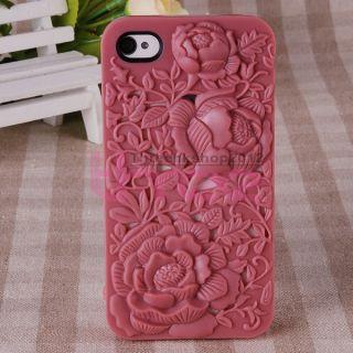 3D Sculpture Design Rose Flower Hard Case Cover for Apple iPhone4 4G