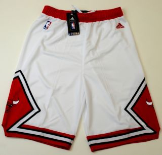 NBA Adidas Chicago Bulls Youth 2012 Home Shorts White New with Tags