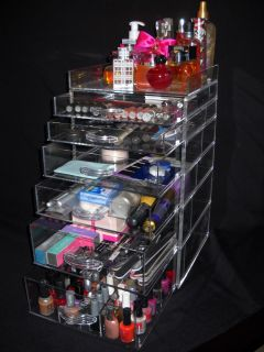 Acrylic Lucite Clear Cube Jewelry Organizer with Drawers and Dividers