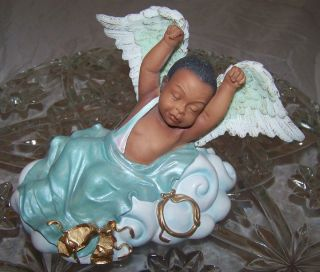 African American Baby Angel Stretching Figurine
