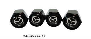 AGT 4pcs Black Aluminum Valve Caps Stem Tire Cap For Mazda Cars Trucks