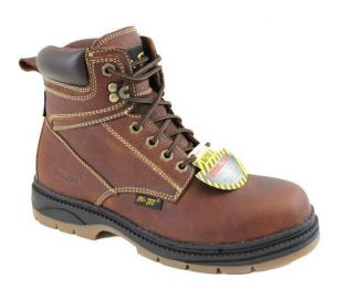 AdTec Mens 6 Steel Toe Work Boot Reddish Tumble Full Grain Leather