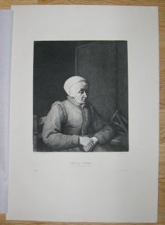 FOLK ART PORTRAIT OLD WOMAN ADRIAAN VAN OSTADE E BOCOURT ETCHING PRINT
