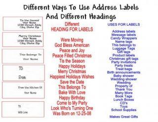Primitive Country Return Address Labels Gift Favor Tags Buy 3 Get 1